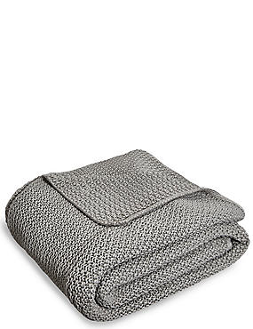 Knitted Throw, SILVER, catlanding