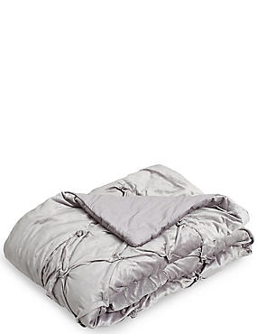 Quilted Velvet Pinch Bed Throw, SILVER, catlanding