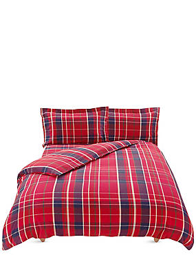 Brushed Cotton Tartan Checked Bedding Set, RED MIX, catlanding