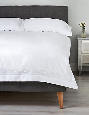 Lace Trim Bedding Set, WHITE, catlanding