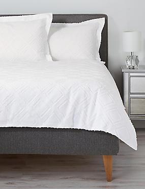 Pure Cotton Cut Square Bedding Set, WHITE, catlanding