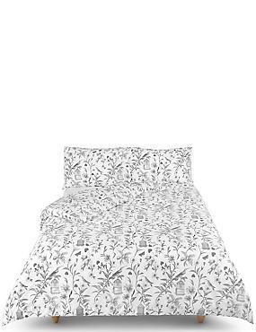 Hummingbird Print Bedding Set, MID GREY, catlanding