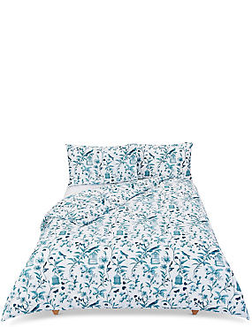 Hummingbird Print Bedding Set, DARK KINGFISHER, catlanding