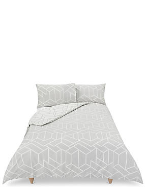 Large Scale Geometric Print Bedding Set, GREY MIX, catlanding
