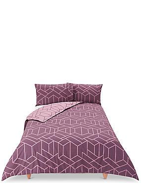 Large Scale Geometric Print Bedding Set, DARK GRAPE, catlanding