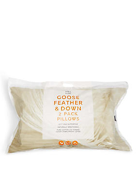 2 Pack Goose Feather & Down Pillows