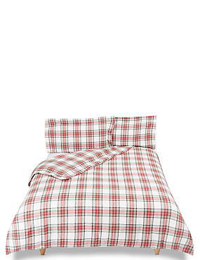 Austin Check Brushed Cotton Bedding Set, RED MIX, catlanding