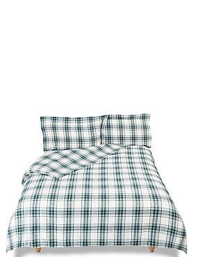 Austin Check Brushed Cotton Bedding Set, DARK GREEN MIX, catlanding