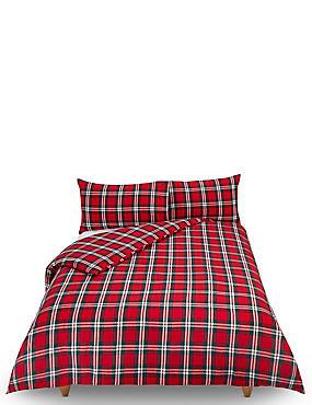 Vintage Checked Brushed Cotton Bedding Set, RED MIX, catlanding