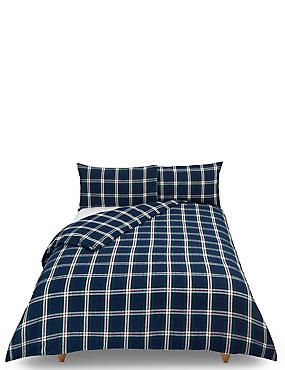 Vintage Checked Brushed Cotton Bedding Set, DARK GREEN MIX, catlanding