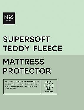 Teddy Fleece Mattress Protector, CREAM C, catlanding
