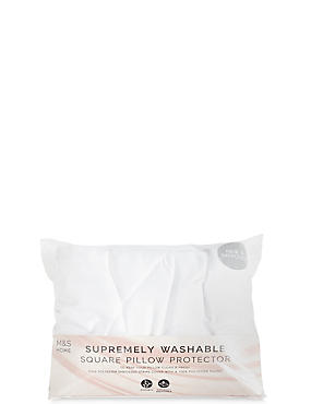 Supremely Washable Square Pillow Protector, , catlanding