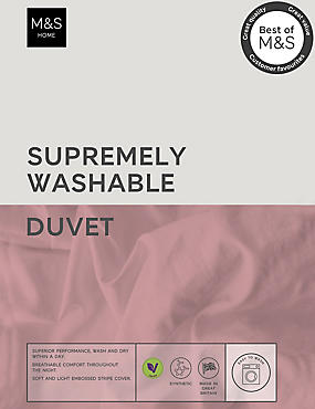 Supremely Washable 10.5 Tog Duvet, WHITE, catlanding