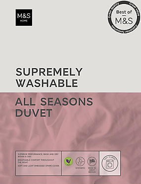 Supremely Washable All Season 13.5 Tog Duvet, WHITE, catlanding