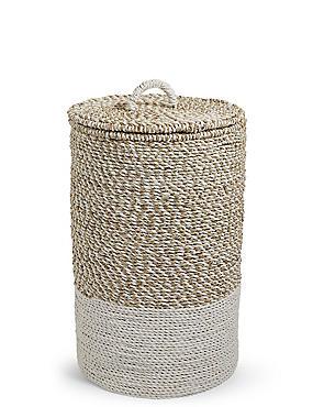 Raffia & Seagrass Laundry Basket, , catlanding