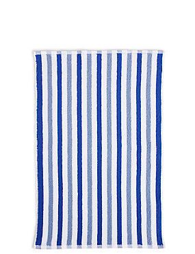 Lightweight Striped Bath Mat, BLUE MIX, catlanding