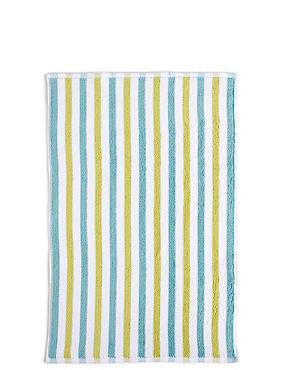 Lightweight Striped Bath Mat, GREEN MIX, catlanding