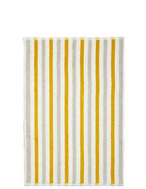 Lightweight Striped Bath Mat, OCHRE, catlanding
