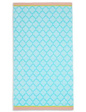 Tile Print Beach Towel, , catlanding