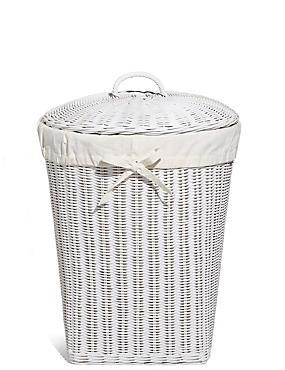 White Rattan Corner Laundry Basket, , catlanding