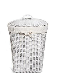 White Rattan Corner Laundry Basket Catlanding