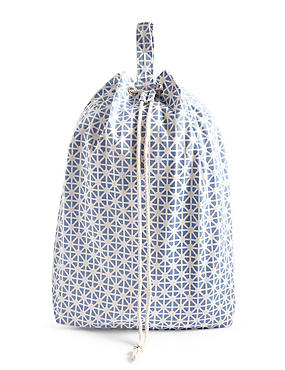 Coastal Geometric Print Laundry Bag