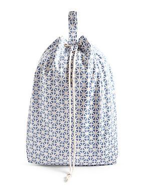 Coastal Geometric Print Laundry Bag, BLUE MIX, catlanding