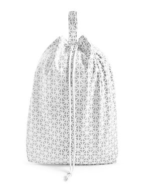 Coastal Geometric Print Laundry Bag, LIGHT GREY MIX, catlanding