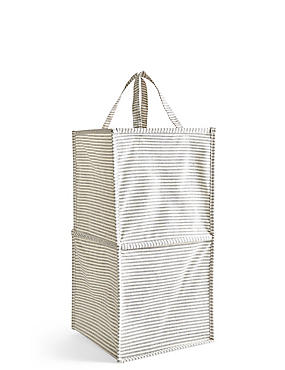 Pop Up Striped Canvas Laundry Bin