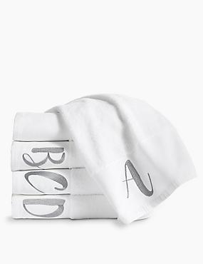 Alphabet Towel, WHITE, catlanding