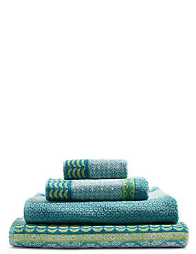 Multi Tile Towel, GREEN MIX, catlanding