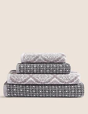 Multi Tile Towel, GREY MIX, catlanding