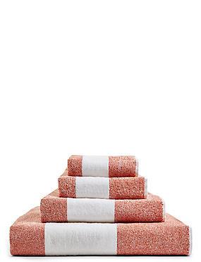 Wide Striped Towel, TERRACOTTA, catlanding