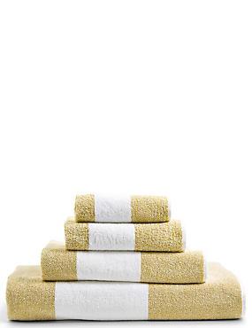 Wide Striped Towel, OCHRE, catlanding