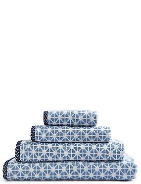 Geometric Print Star Towel, BLUE, catlanding