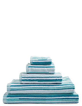 Skinny Stripe Towel, DUCK EGG, catlanding