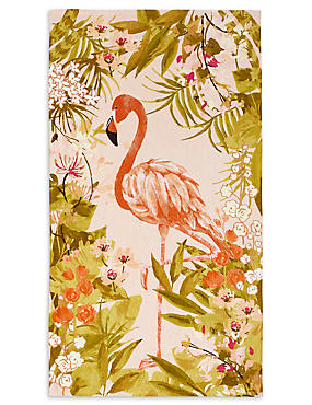 Flamingo Print Beach Towel, , catlanding