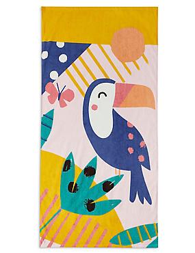 Toucan Print Kids Beach Towel, , catlanding