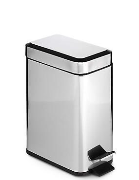 5lt Rectangular Pedal Bin, CHROME, catlanding