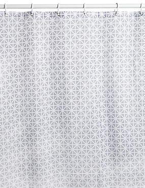 Coastal Geometric Shower Curtains, LIGHT GREY MIX, catlanding