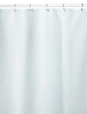 Pinstripe Seersucker Shower Curtains, DUCK EGG, catlanding