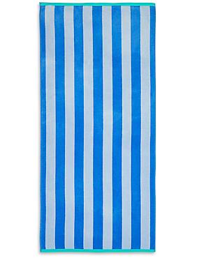 Velour Wide Stripe Beach Towel, , catlanding