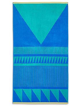 Block Geometric Beach Towel, , catlanding
