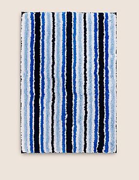 Quick Dry Striped Bath & Pedestal Mats, BLUE, catlanding