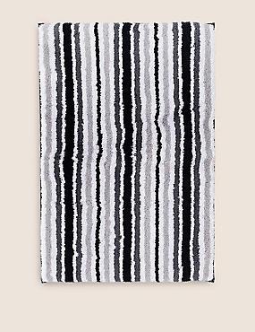 Quick Dry Striped Bath & Pedestal Mats, BLACK, catlanding