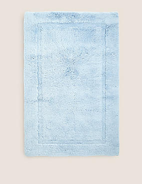 Pure Cotton Bath & Pedestal Mats, CHAMBRAY, catlanding