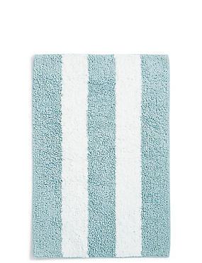 Wide Striped Bath & Pedestal Mats, DUCK EGG, catlanding