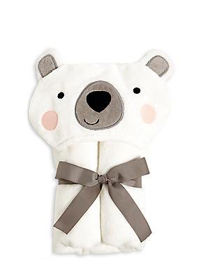 Polar Bear Hooded Towel, WHITE, catlanding