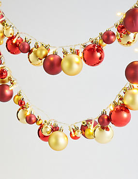 25 Red Bauble Garland Decorative Lights, , catlanding