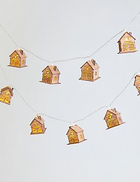 16 Wooden House Decorative Lights, , catlanding